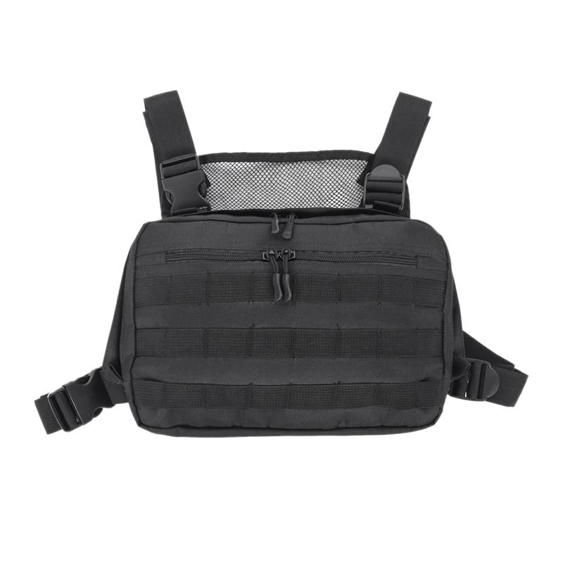 TOP!-Black Chest Bag Adjustable Oxford Hip Hop Streetwear Functional Shoulder Bag Waist Packs Kanye West Chest Rig Bags