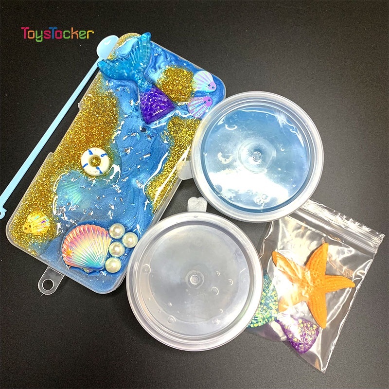 Ocean Craft Box,Mermaid Tail,Seashells Charms For Slime DIY Polymer Filler Addition Slime Accessories Toys Modeling Clay