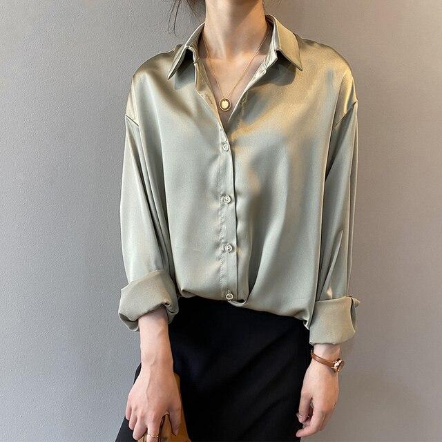 Autumn Fashion Button Up Satin Silk Shirt Vintage Blouse Women White Lady Long Sleeves Female Loose Street Shirts 11355 3