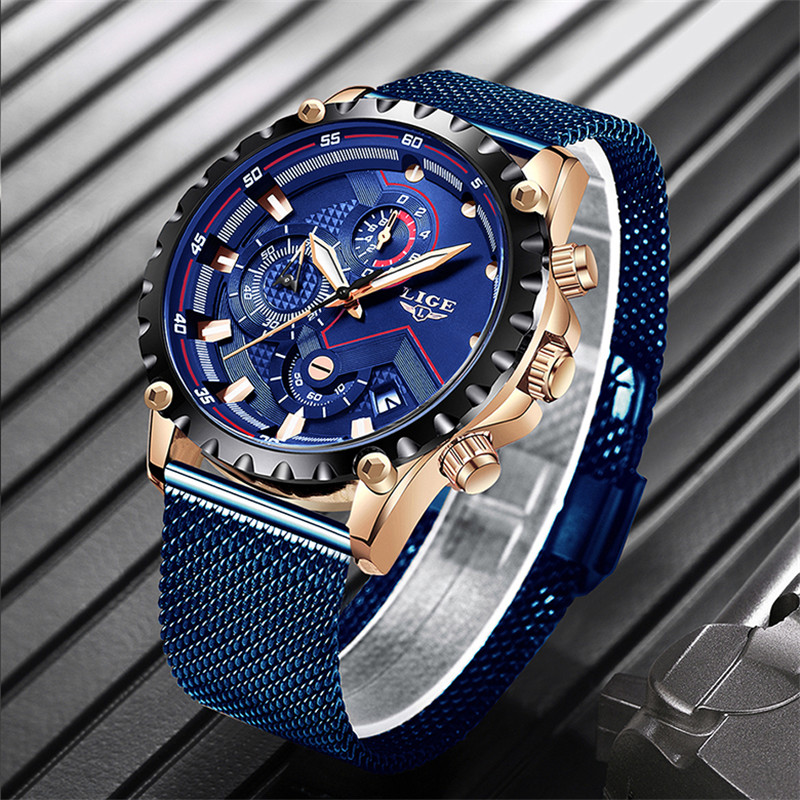 2019 New LIGE Mens Watch Top Brand Luxury Sport Mesh Steel Waterproof Quartz Watch Mens Fashion Blue Date Chronograph Male Clock