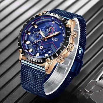 2019 nuevo reloj LIGE para hombre de marca superior de lujo de malla deportiva de acero impermeable de cuarzo reloj para hombre de moda con fecha azul cronógrafo Masculino reloj