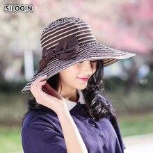 SILOQIN  Panama Ladies Cap Summer Sunscreen Anti-UV Bucket Hats Foldable Oversized Sun Visors Sombrero Leisure Motion Beach Hat