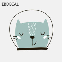 EBdecal Blue Kitten Wearing A Space Helmet Decal PVC For Auto Car/Bumper/Window/Wall Decal Sticker Decals DIY Decor CT5265(China)