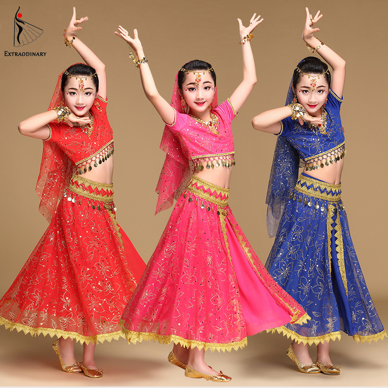 Belly Dance Costume Children Bollywood Dance Costumes Set Indian Bollywood Kids Dresses 5pcs (Headpieces Veil Top Belt Skirt)
