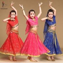 Kostium taneczny brzucha dzieci kostiumy do tańca Bollywood zestaw indyjski Bollywood sukienki dla dzieci 5 sztuk (stroiki welon Top spódnica z paskiem)