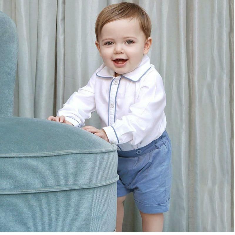 2019Autumn Kids Clothes Children Cotton Handsome Clothes New Boys Baptism Cotton Shirt+panty Children First Birthday Dress