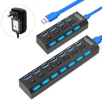 Concentrador USB 3,0, divisor USB 3 0, concentrador de múltiples puertos con...