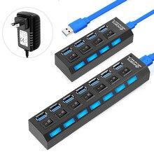 Usb-хаб USB 3,0 концентратор USB сплиттер 3 0 многопортовый концентратор с адаптером питания несколько 3 вцв с переключателем для ПК Компьютерные а...
