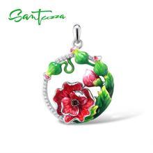 SANTUZZA Серебряный кулон для женщин из чистого 925 пробы серебра элегантный красный цветок трендовые Свадебные вечерние ювелирные изделия ручной работы с эмалью