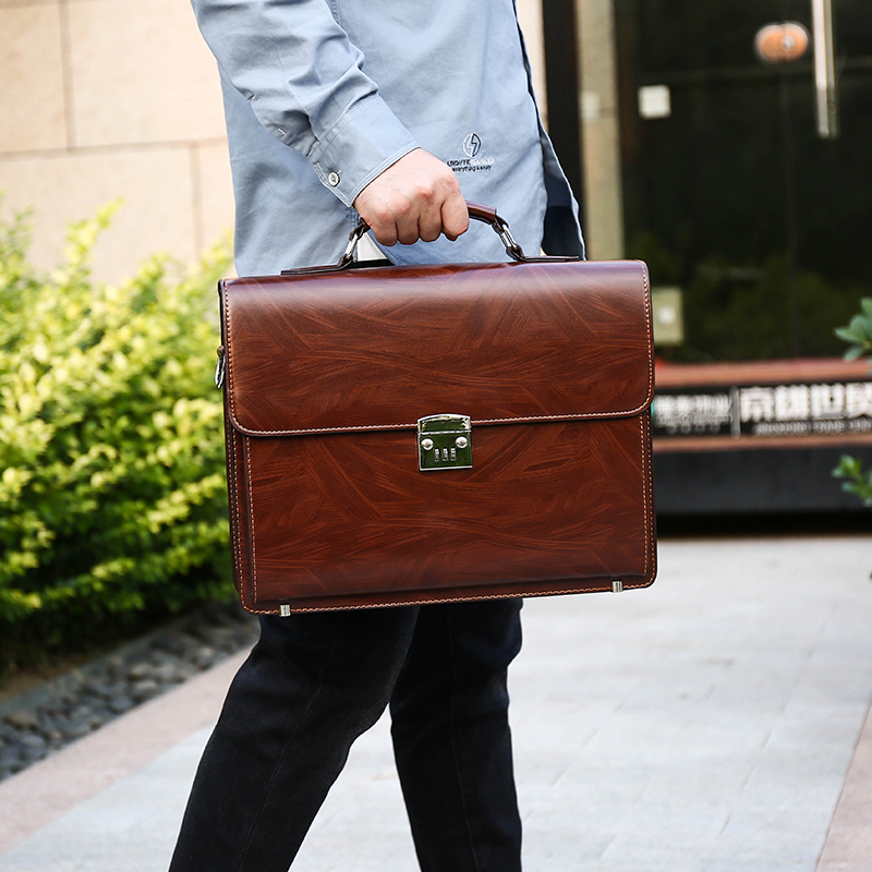 Business Man Bag Theftproof Lock PU Leather Briefcase For Man   Mens Briefcase Bag Dress Man Handbag Brown Shoulder Bag