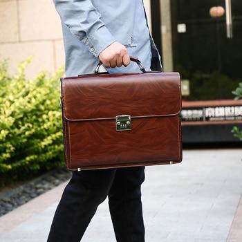 Business Man Bag Theftproof Lock PU Leather Briefcase For Man   Mens Briefcase Bag Dress Man Handbag Brown shoulder bag twist lock detail pu shoulder bag