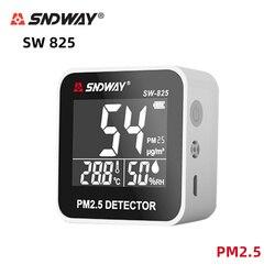 SNDWAY SW825 PM2.5 Tester/termometr i higrometr narzędzie diagnostyczne/Monitor pyłu/analizator gazów/laserowy Tester jakości powietrza w Analizatory gazu od Narzędzia na