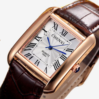 Marca de luxo chenxi masculino casual relógios quartzo retro design quadrado numerais romanos minimalismo pulseira de couro vestido relógio