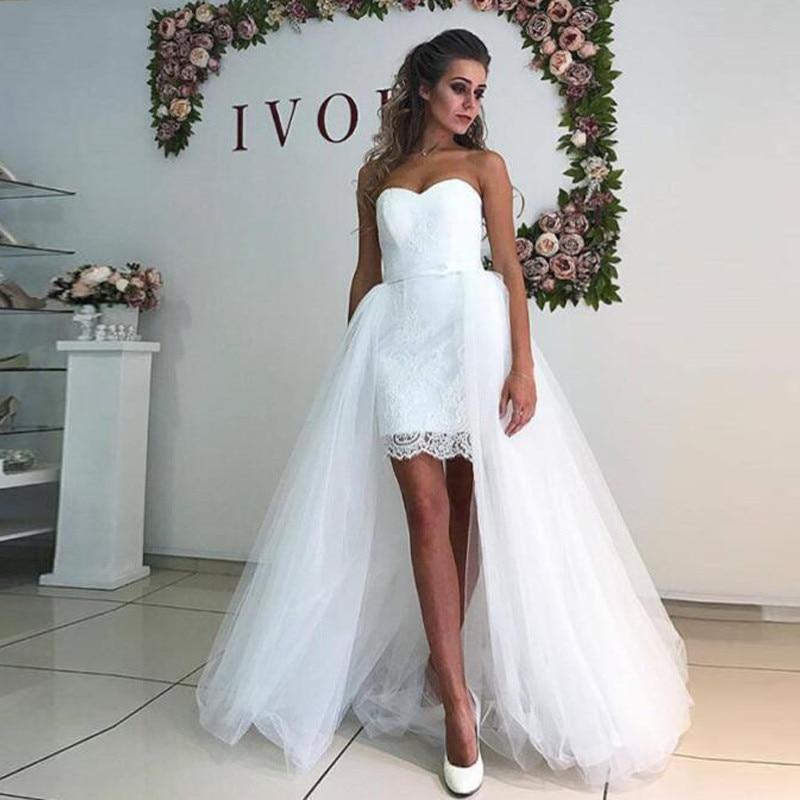 NBW017 Robe De Mariage Custom Made Removable Skirt Short Wedding Dress 2019 Sweetheart Wedding Gowns Sheath Vestido De Noiva