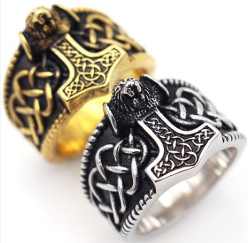 Tribal Symbol Myth Thor Hammer Ring Stainless Steel Jewelry Celtic Knot Ring Norse Viking Motor Biker Men Ring Animal Bear Male(China)