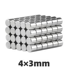 AGMA 100pcs 4 × 3mm N35 Neodymium Magnet Disc Super Strong Durable Mini Small Round Tiny Rare Earth Magnets Sheet 4*3mm 50pcs round n52 neodymium magnets strong rare earth magnet disc 20mm x 3mm for industry tools