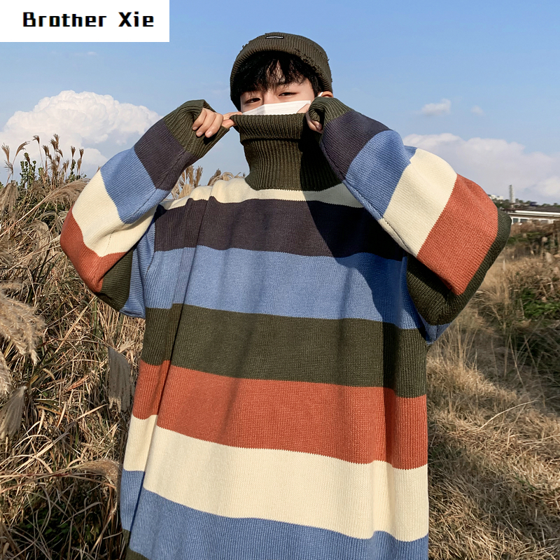 Winter Thick High Collar Sweater Men's Warm Fashion Casual Striped Knit Pullover Man Wild Loose Long Sleeve Sweater Male