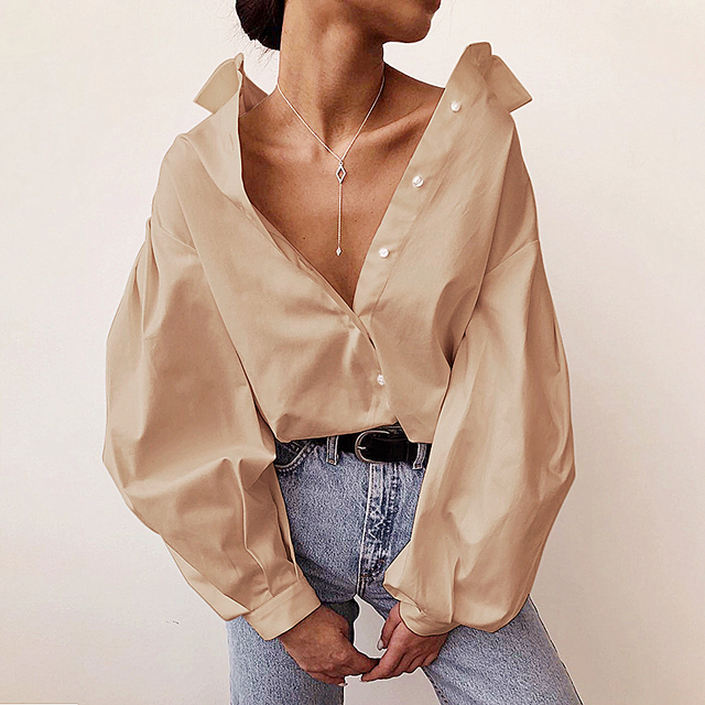 InstaHot Lantern Sleeve Elegant Shirt White Black Sexy Button Vintage Blouse Turn Down Collar Office Ladies Shirt Female Casual 3