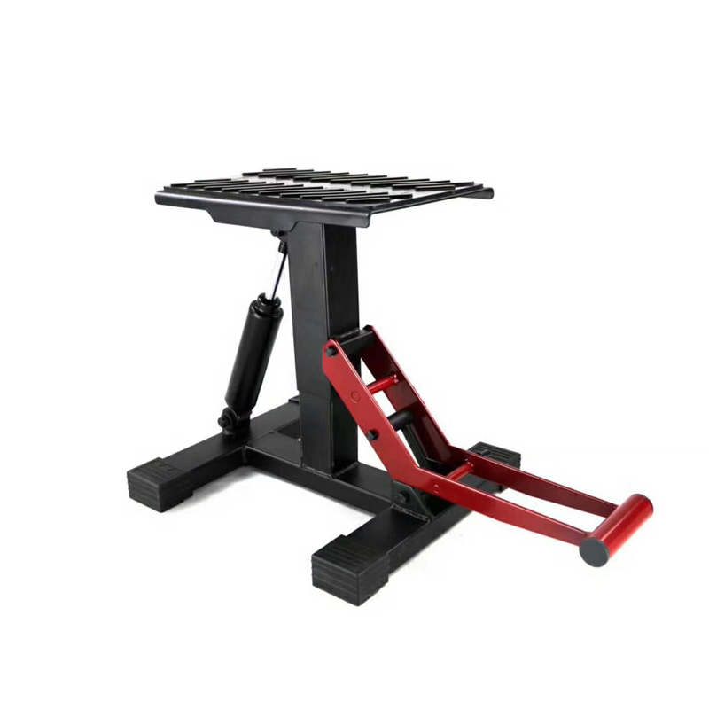 Adjustable Lift Jack Lift Stand Repairing Table For Adventure Touring Motorcycle Street Bike Lift Stand Iron Black + Red