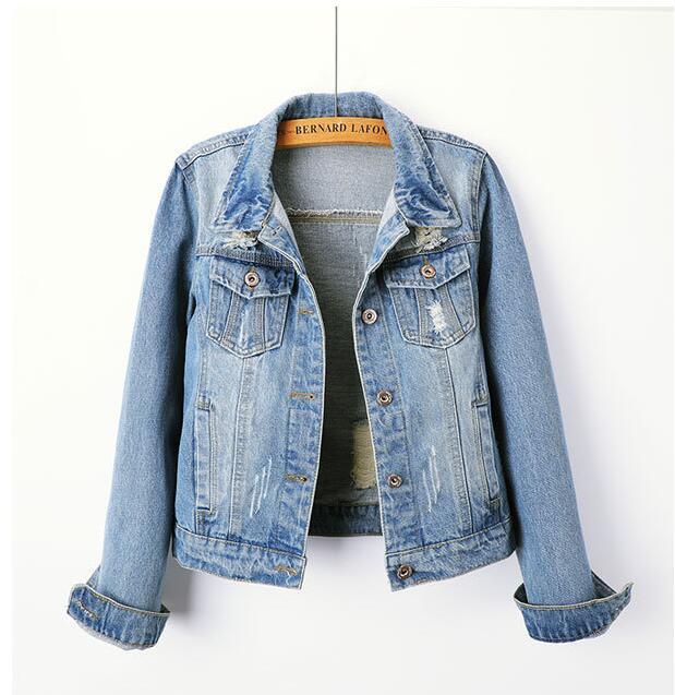 New Women Denim   Jacket   Coat Denim Casual Women   Basic     Jacket   Thin Windbreaker With Pockets Vintage Autumn Slim Women Outerwear