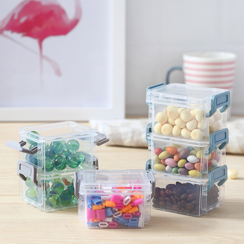 Magic Buckle Storage Box Stationery Finishing Box Household Transparent Multilayer Superimposed With Lid Jewelry Box Office Desk