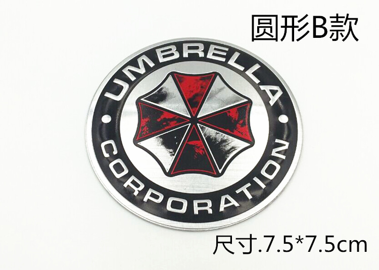Image 5 - 3D aluminiowe naklejki z motywem umbrella corporation znaczek z symbolem bagażnik samochodowy metalowa naklejka naklejka z samoprzylepnymNaklejki samochodowe   -