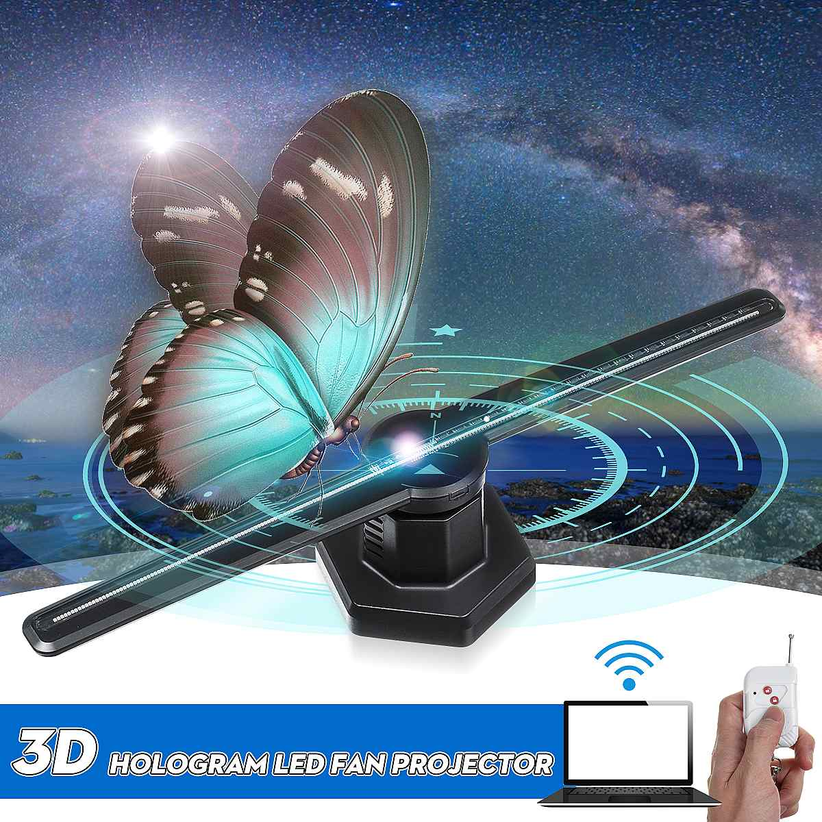AC 100-240V 224LED Wifi 3D proyector holográfico reproductor de holograma pantalla LED lámpara de imagen ventilador LUZ DE PUBLICIDAD remoto control
