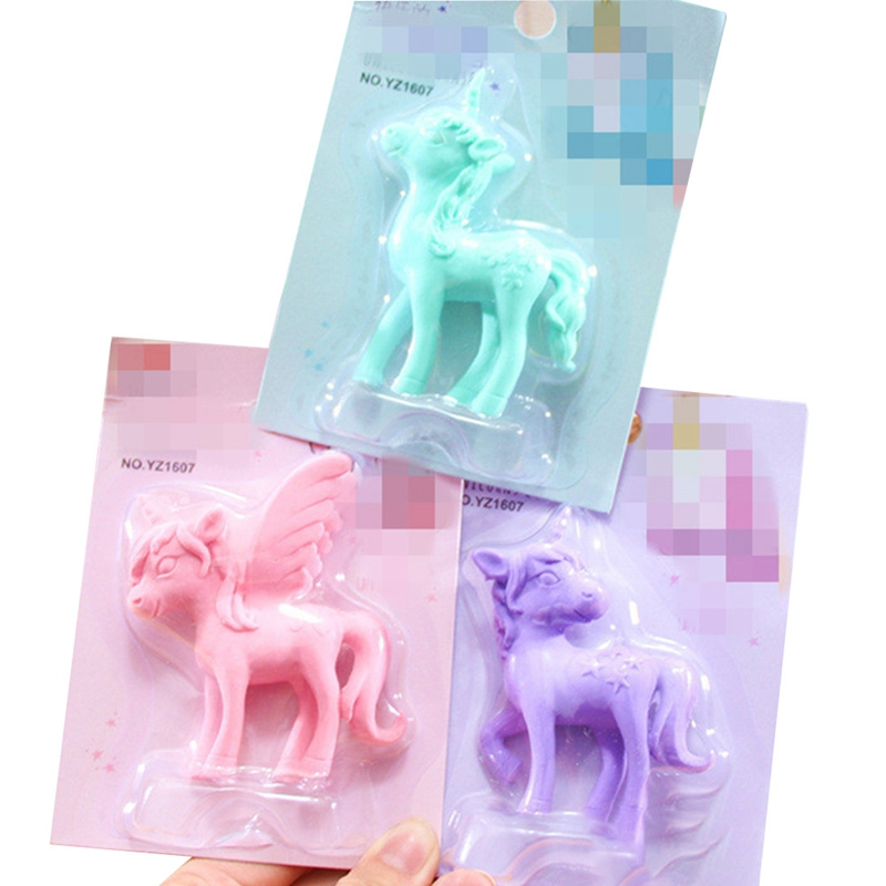 1pcs Cute Unicorn Eraser Cartoon Pony Rubber Kawaii Students Stationery Kids Gifts School Office Correction Supplies