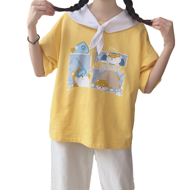 Japanese Sweet Womens T Shirts Harajuku Kawaii Tumblr Girl Dog Graphic Tees Vintage Sailor Collar Lace Up Yellow Cute Shirt Top