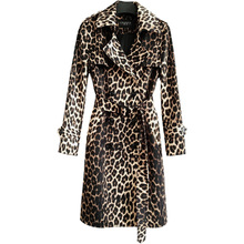 British Leopard Plus Size Trench Coat Women 2020 Spring Autumn New Fashion Slim With Belt Double Breasted Long Windbreaker G006