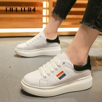 RIBETRINI Women's Fashion Casual Sneakers 2019 New Thick Flatform Lace Up Autumn Shoes Woman Casual Dress Sneakers