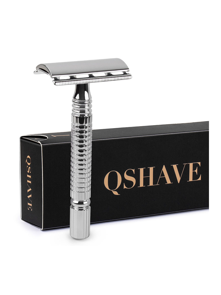 Qshave Safety Razor Short-Handle Gift-Box-Pack Classic Double-Edge 5-Blades Mens