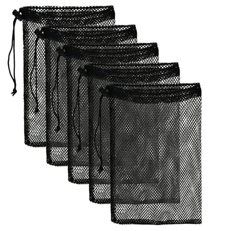 Mesh Stuff Sack Durable Nylon Drawstring Laundry Bag for Rinsing Beach Toys Swimming Camping Travel Outdoor Tool Bag