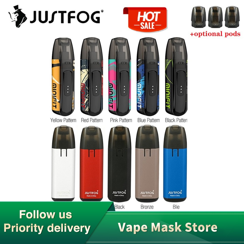 New Colors Kit JUSTFOG MINIFIT Pod Vape Kit W/ 370mAh Battery & 1.5ml Cartridge Pod System Pod Vape Kit Vs Drag Nano/ Vinci Air