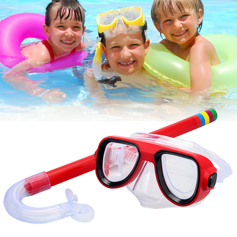 Child Diving Snorkeling Mask Swimming Scuba Total Dry Snorkel And Mask Glass Lens PVC 4 Color Child Diving Glasses New 7