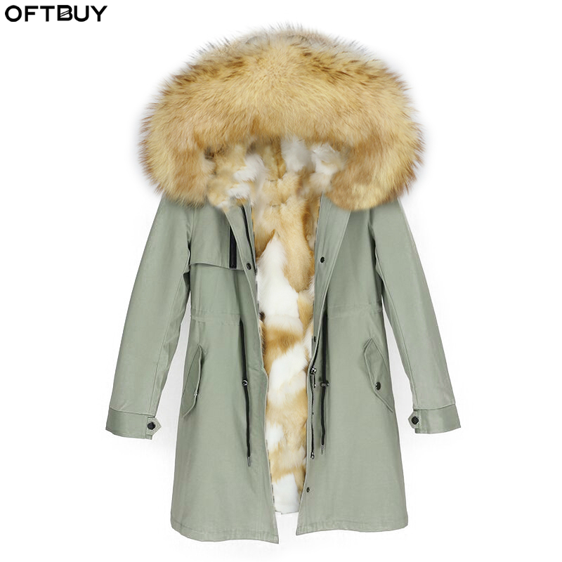 OFTBUY 2019 Real Fur Parka Winter Jacket Women Natural Fox Fur Collar Hood Fox Liner Coat Thick Warm Outerwear Streetwear Casual