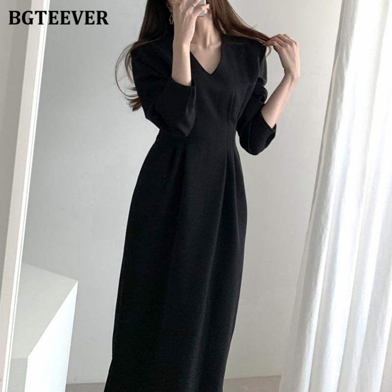 BGTEEVER Elegant V-neck Full Sleeve Midi Dress Women 2020 Autumn Office Ladies Slim Waist Female Dress Workwear Solid Vestidos