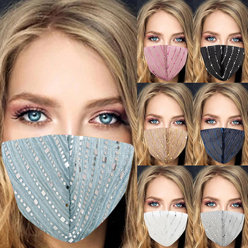 Sexy Glitter Sequined Masks for Women Dustproof Colorful Mask Breathable Face Nightclub Face Accessorie