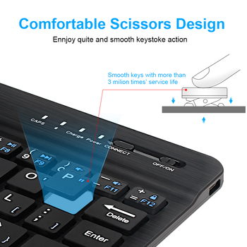Mini Wireless Keyboard Bluetooth Keyboard For ipad Phone Tablet Russian Spainish Rechargeable keyboard For Android ios Windows 3
