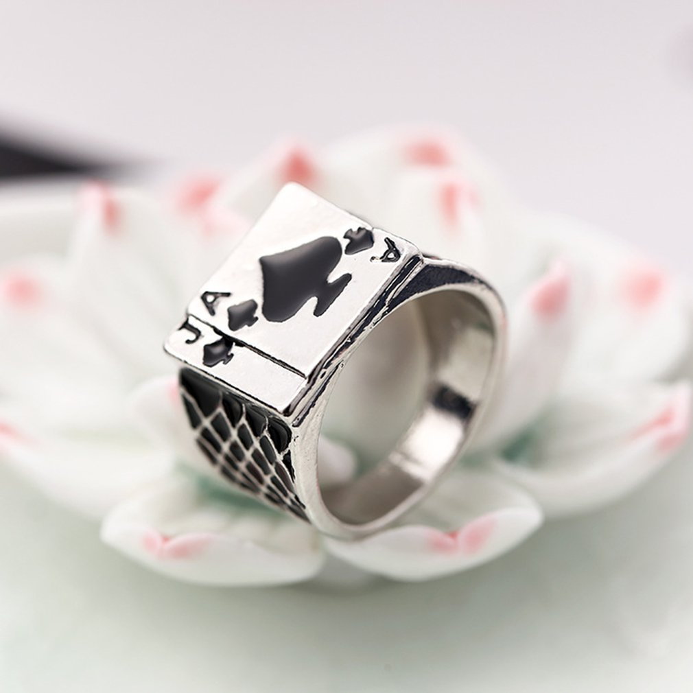 Rings Tibetan Jewelry Punk-Rock Stainless-Steel for Men Personality Spades Playing-Card