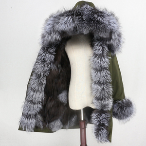 Image 1 - OFTBUY 2020 su geçirmez Parka kış ceket kadınlar gerçek kürk ceket tilki kürk yaka Hood tilki kürk astar sıcak Streetwear ayrılabilir yeni