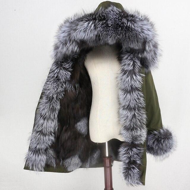 OFTBUY 2020 su geçirmez Parka kış ceket kadınlar gerçek kürk ceket tilki kürk yaka Hood tilki kürk astar sıcak Streetwear ayrılabilir yeni