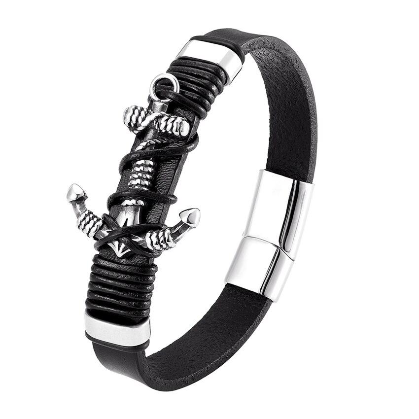Pulsera de cuero genuino con diseño de ancla, pulsera de acero inoxidable, joyería de lujo para regalo de cumpleaños Mi Band 3 correa de reloj correa de muñeca Metal acero inoxidable para Xiaomi 3 Correa pulsera mi band 3 pulseras Pulseira