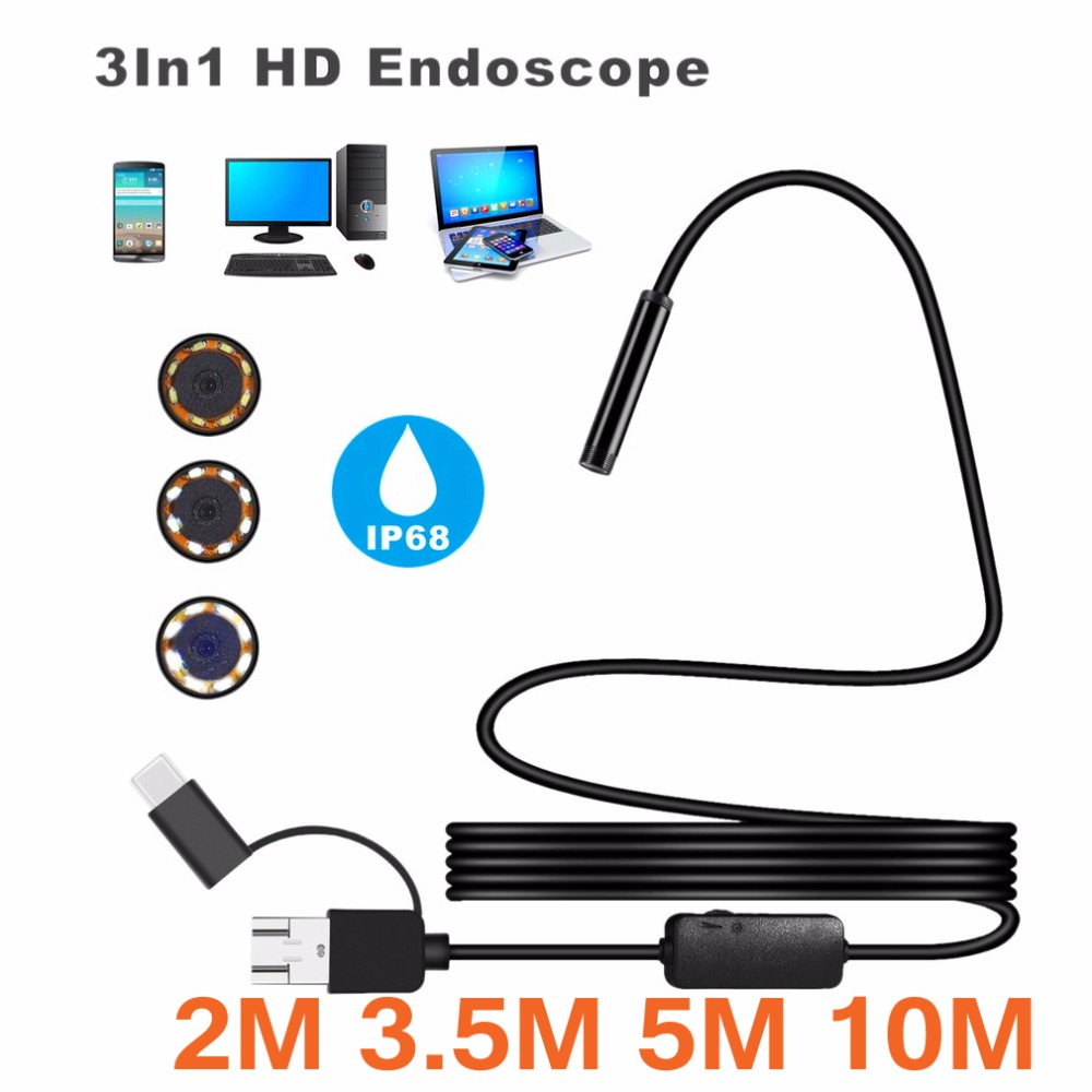 3-in-1 IP68 1200P Android 8MM Micro USB Type-c USB Computer Endoscope Borescope Tube Waterproof Inspection Mini Video Camera