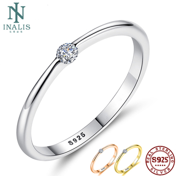 INALIS Real Sterling 925 Silver Rings Round Zirconia Crystal Finger Rings for Women Wedding Original Silver Jewelry slovecabin real 925 sterling silver link chain lock finger rings for women vintage napkin wedding rings for women bijoux female