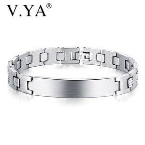 V.YA New Arrival Adjustable lettering Bracelet Men Stainless Steel Bracelet Friends Best Birthday Present