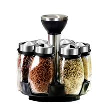 Stojak na przyprawy kuchenne szklane obrotowe słoiczki na przyprawy pojemniki na przyprawy do soli przyprawa Cruet kuchnia pieprz spraye przyprawy puszki zestaw