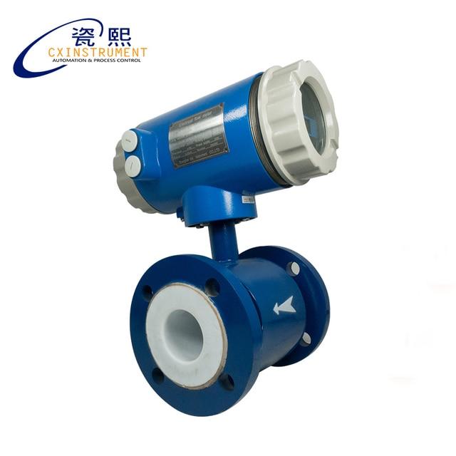 Débitmètre électromagnétique en acier au carbone DN65 avec impulsion et sortie 4-20mA, doublure en PTFE, électrode SS316L, type intégré IP65