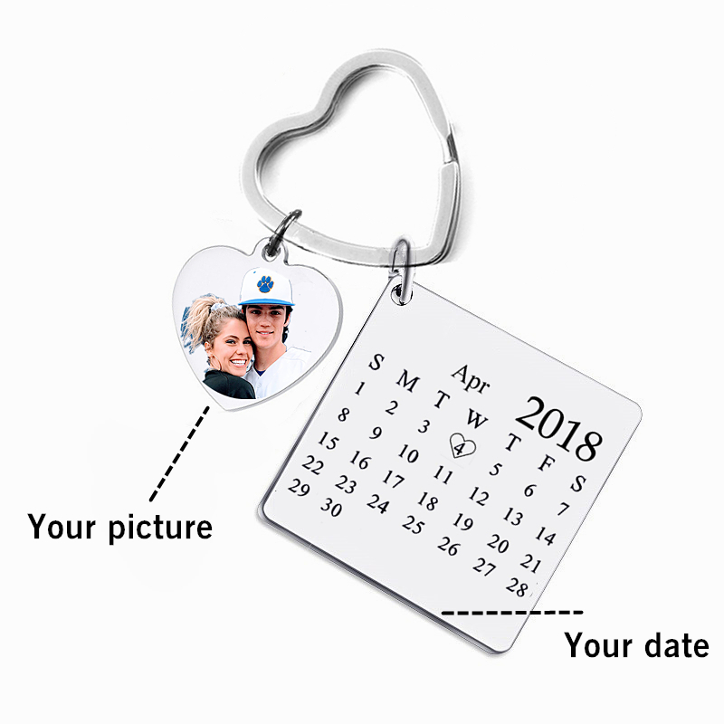 Personalized Calendar Keychain Stainless Steel Custom Colorful Photo Calendar Anniversary Heart Special Date Gifts