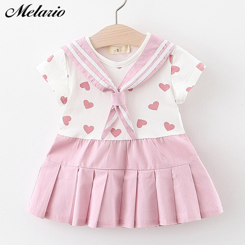 Melario Baby Girl Dress New Summer Cotton Girls Kids Dresses Love Printing Princess Newborn Dress Baby Clothes For 6M 24M